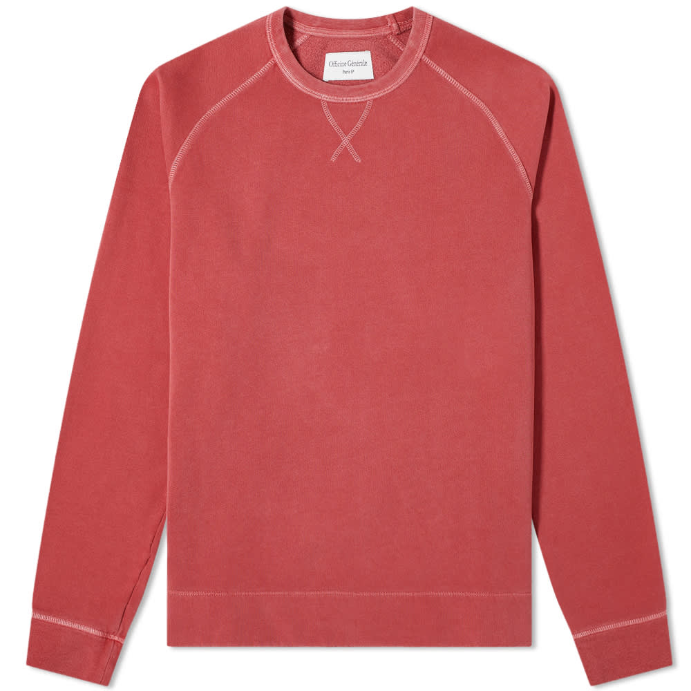 Officine Générale Baptiste Pigment Dyed Crew Sweat - Earth Red
