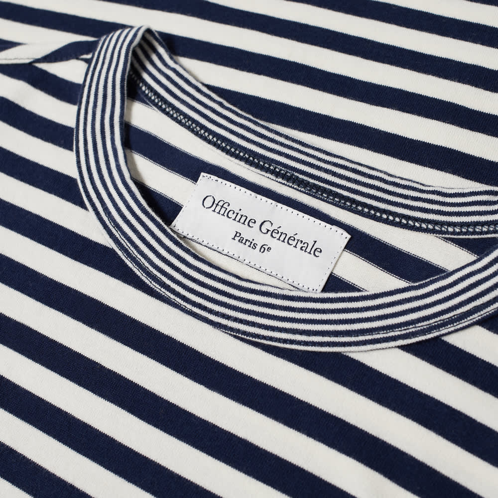 Officine Générale Japanese Slub Cotton Tee - Navy & White