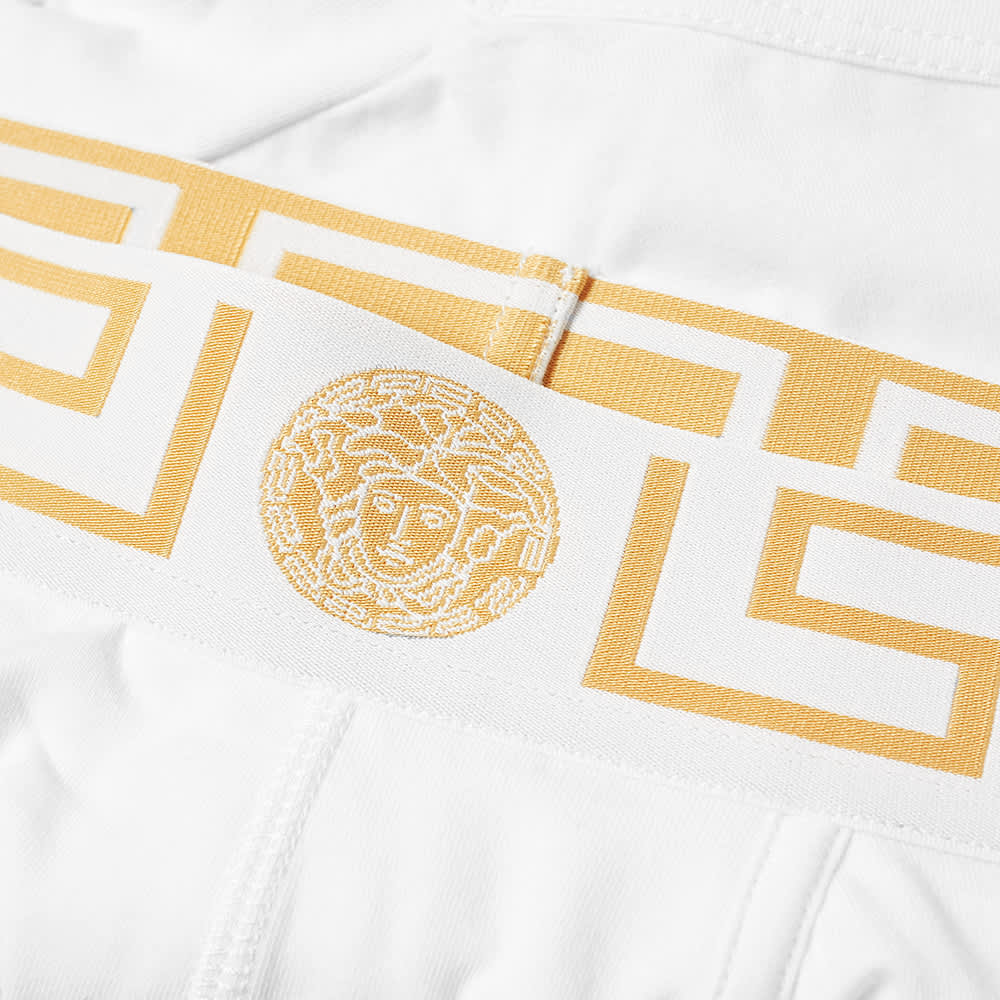 Versace Greek Logo Waistband Boxer Trunk - White & Gold