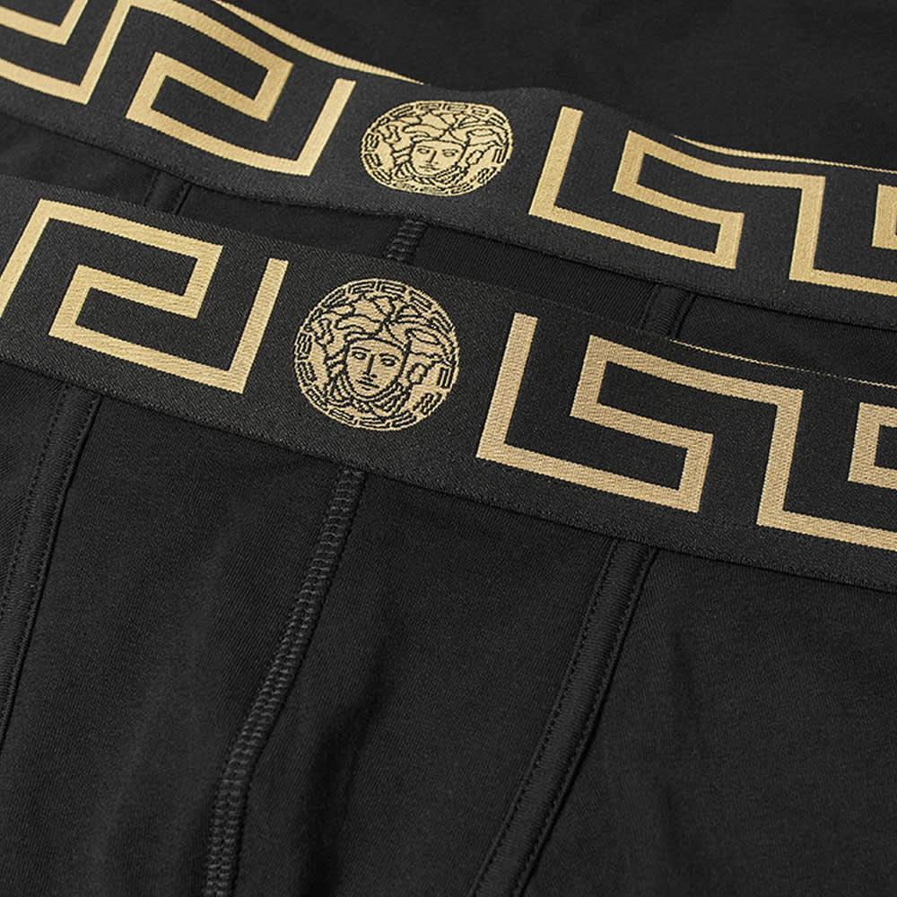 Versace Greek Logo Waistband Boxer Trunk - 2 Pack - Black & Gold