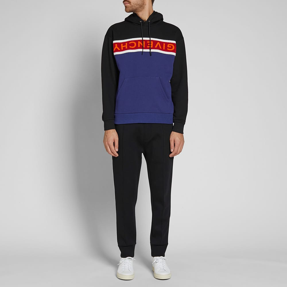 Givenchy Long Sleeve Towelling Logo Popover Hoody - Black, Navy & Red