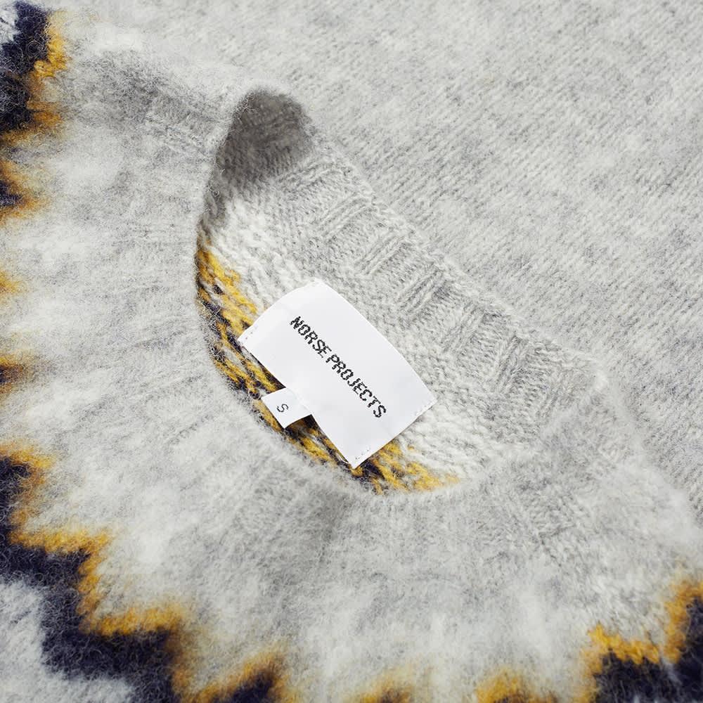 Norse Projects Birnir Fair Isle Crew Knit - Light Grey Melange