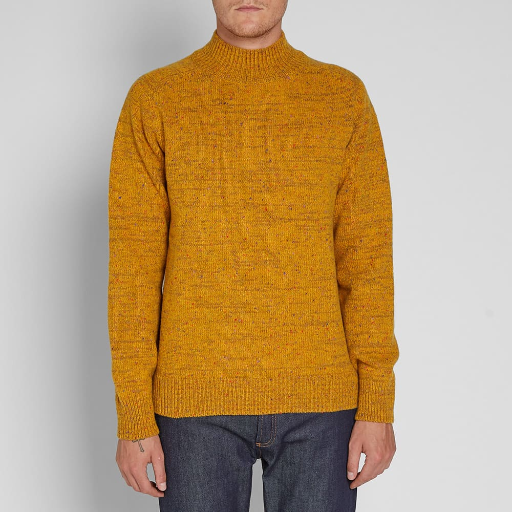 Norse Projects Viggio High Neck Neps Crew Knit - Mustard Yellow