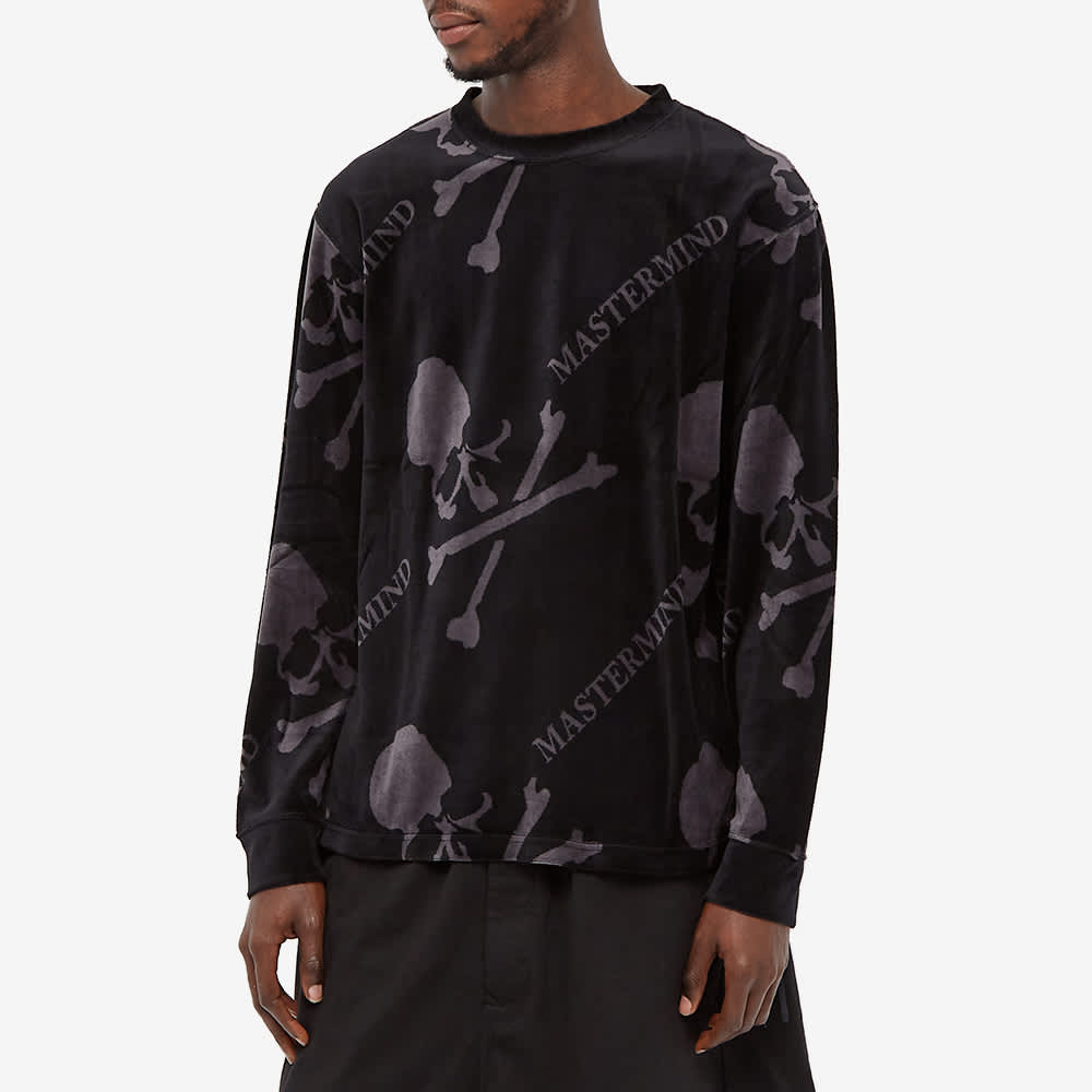 MASTERMIND WORLD Velour All Over Skull Sweat - Black & Charcoal