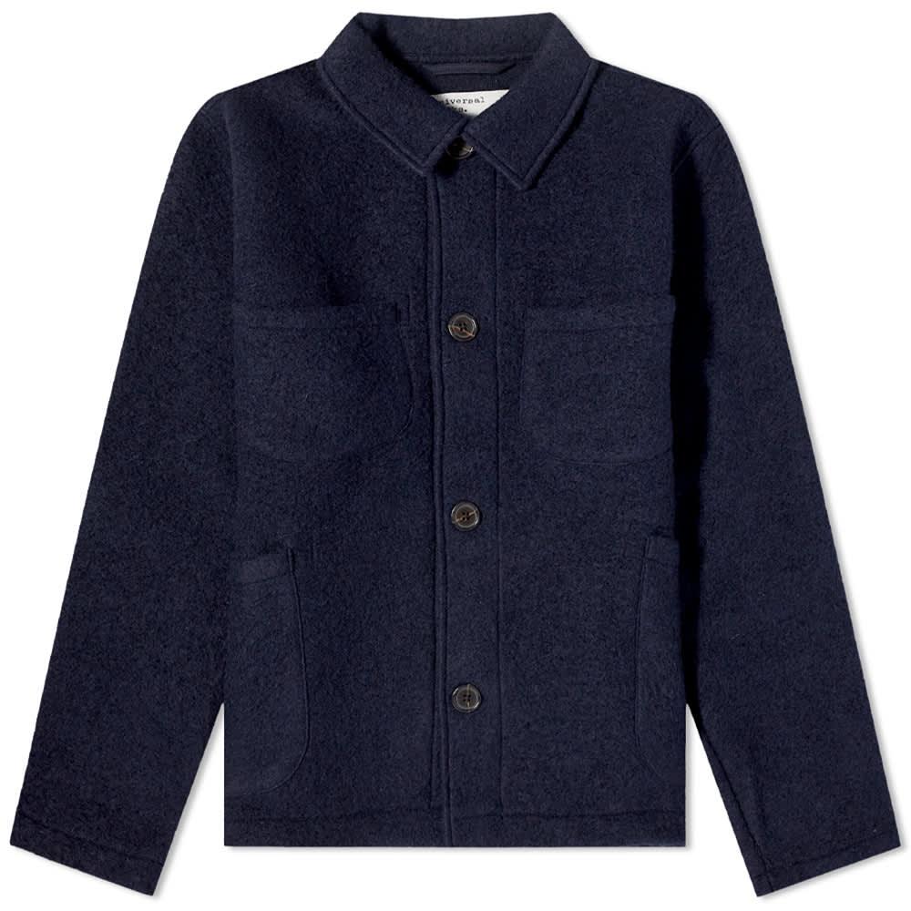 Universal Works Wool Fleece Lumber Jacket - Navy