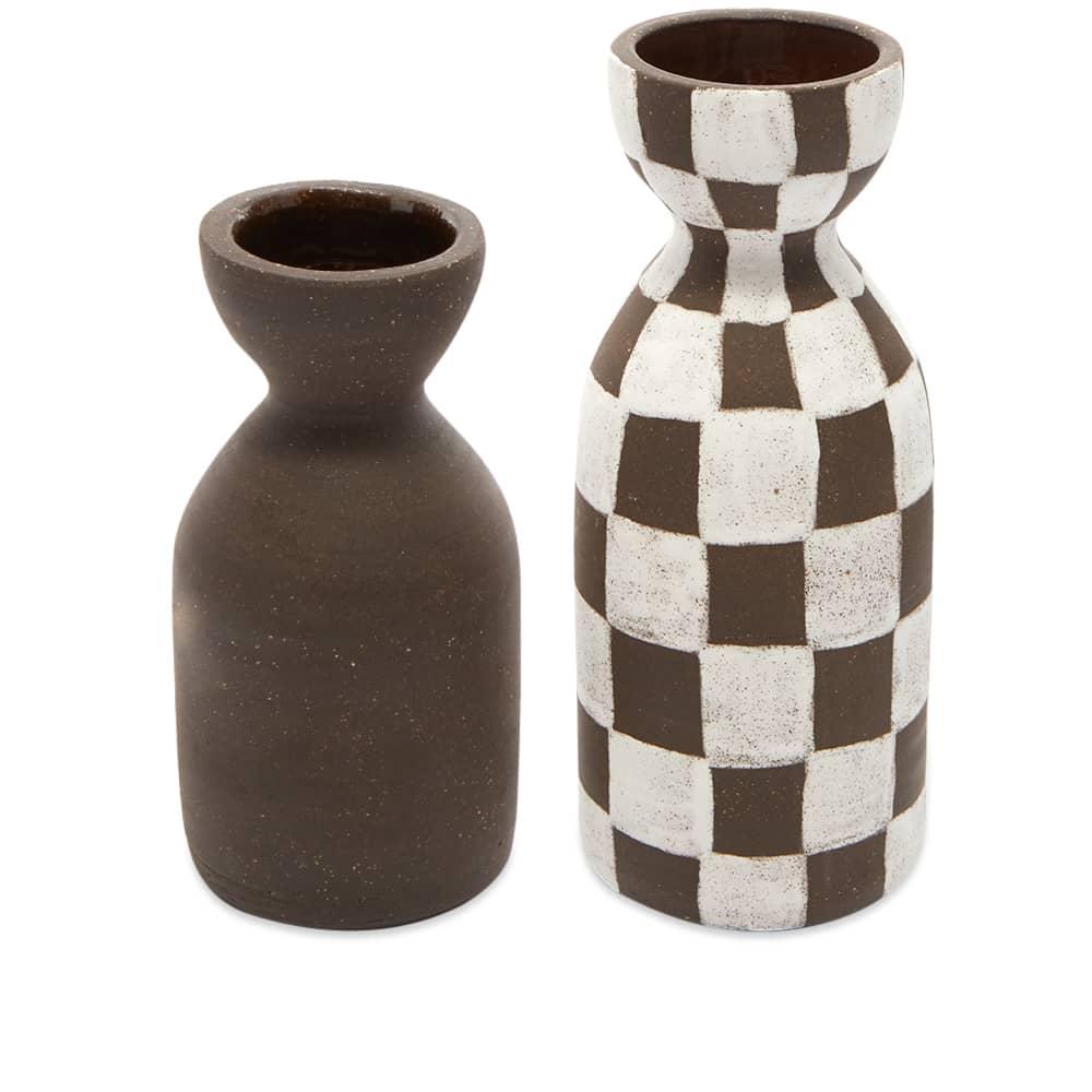 Mellow Ceramics Bud Vase & Candle Holder Set - Painted Check & Plain