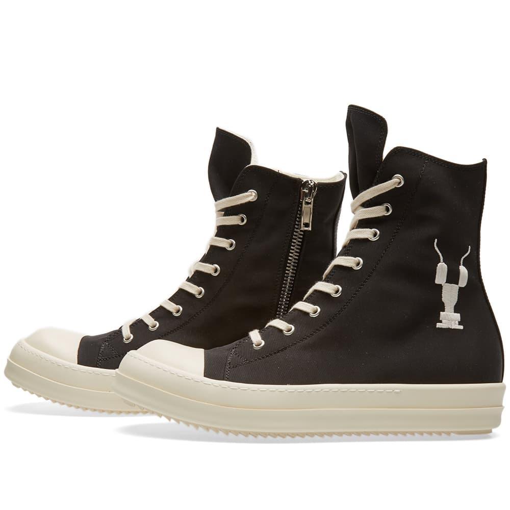 Rick Owens DRKSHDW Logo High Sneaker Black & White | END.
