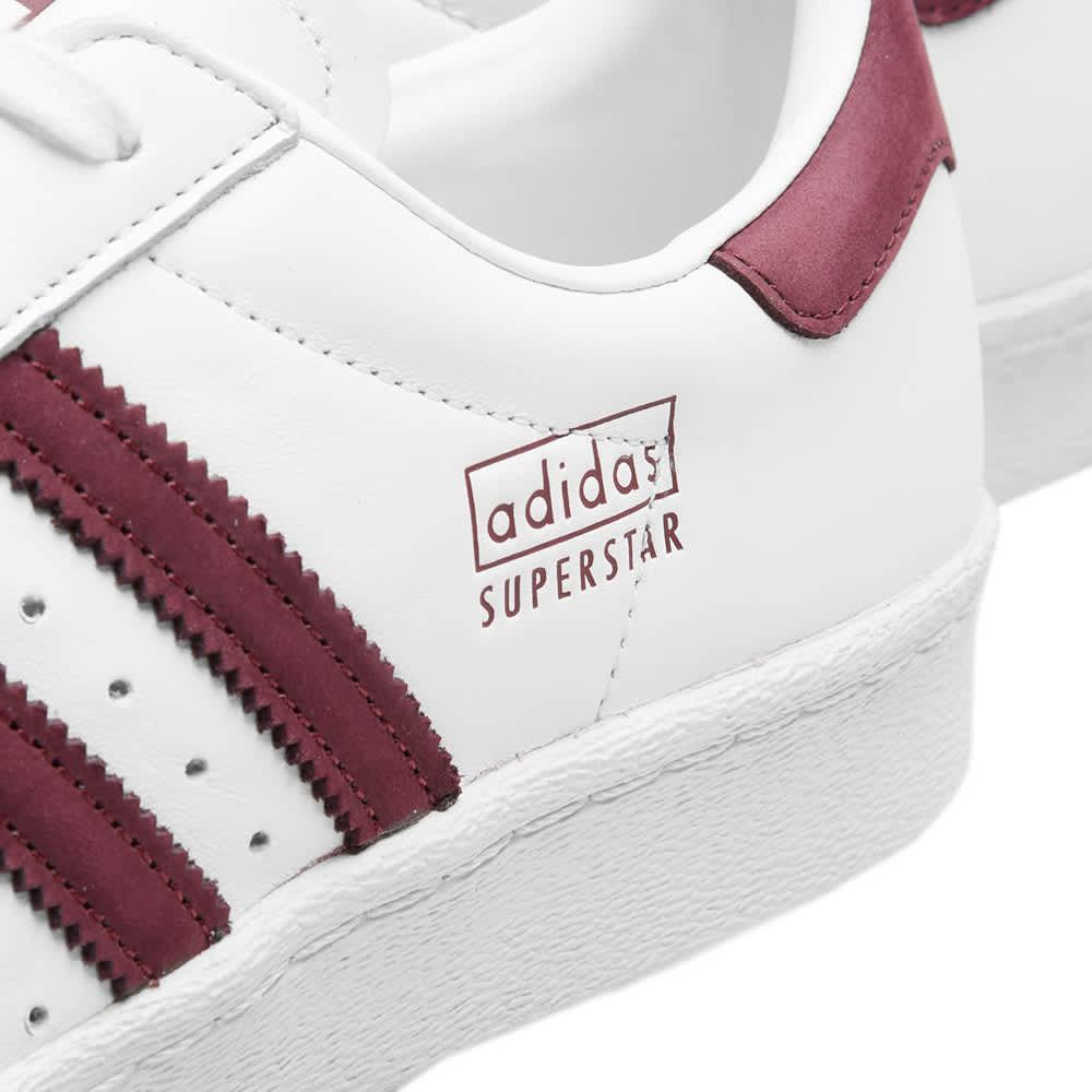 Adidas Superstar 80s White, Maroon