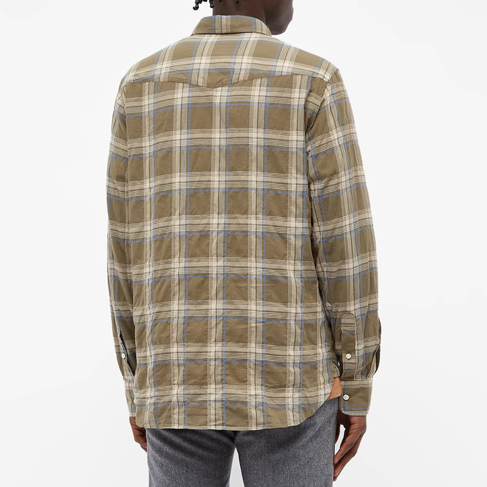 Officine Générale Antime Check Shirt - Faded Brown & Beige