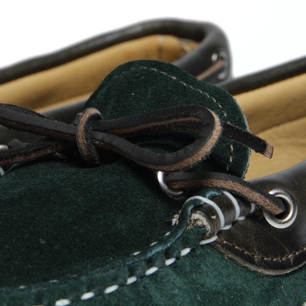 Quoddy Vibram Wrap Deck Moccasin - Forest Green & Olive Suede