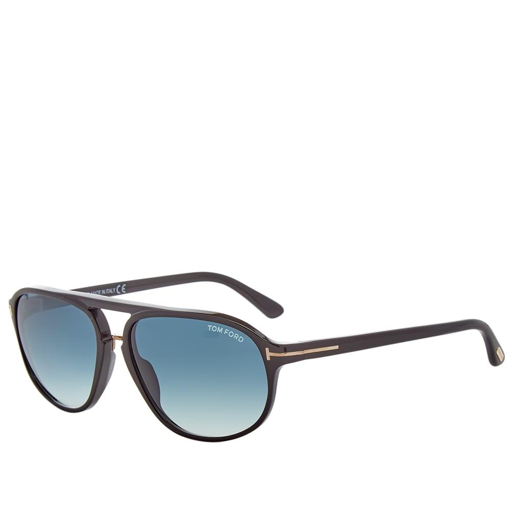 Tom Ford FT0447 Jacob Sunglasses - Shiny Black & Gradient Green