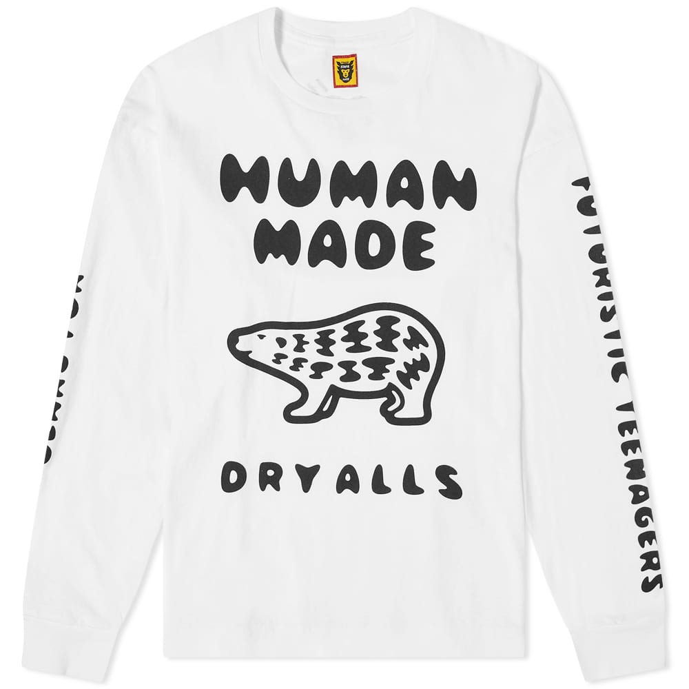 Human Made Long Sleeve Polar Bear Tee - White