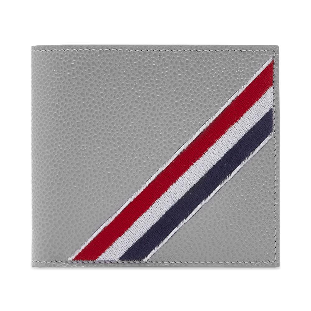 Thom Browne Tricolour Stripe Billfold Wallet - Light Grey
