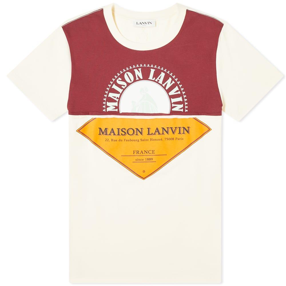 Lanvin Cut And Sew Logo Tee - Ecru & Navy