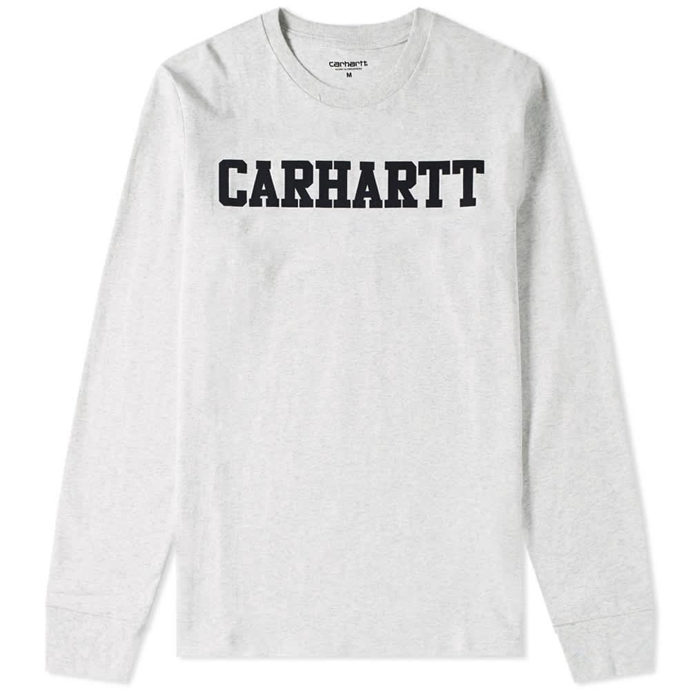 Carhartt WIP Long Sleeve College Tee - Ash Heather & Dark Navy