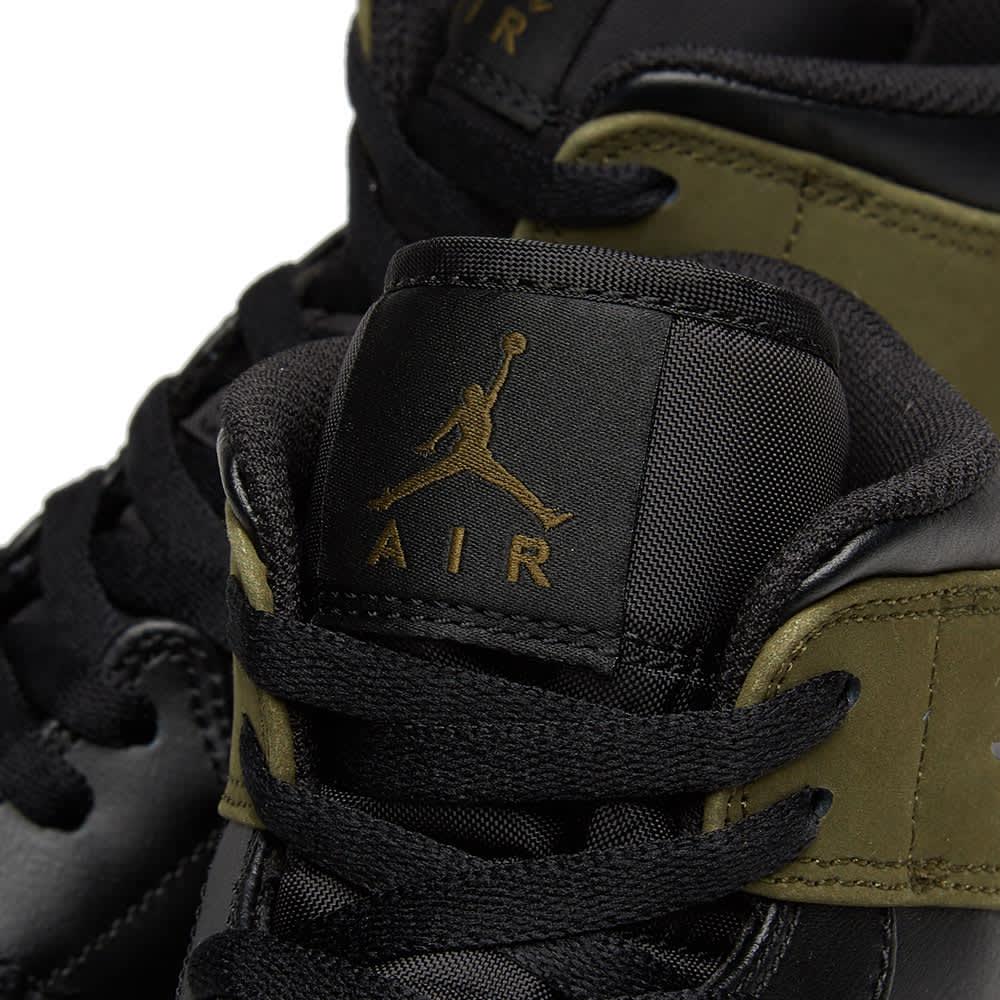 Air Jordan 1 Mid - Olive Canvas, Black & White