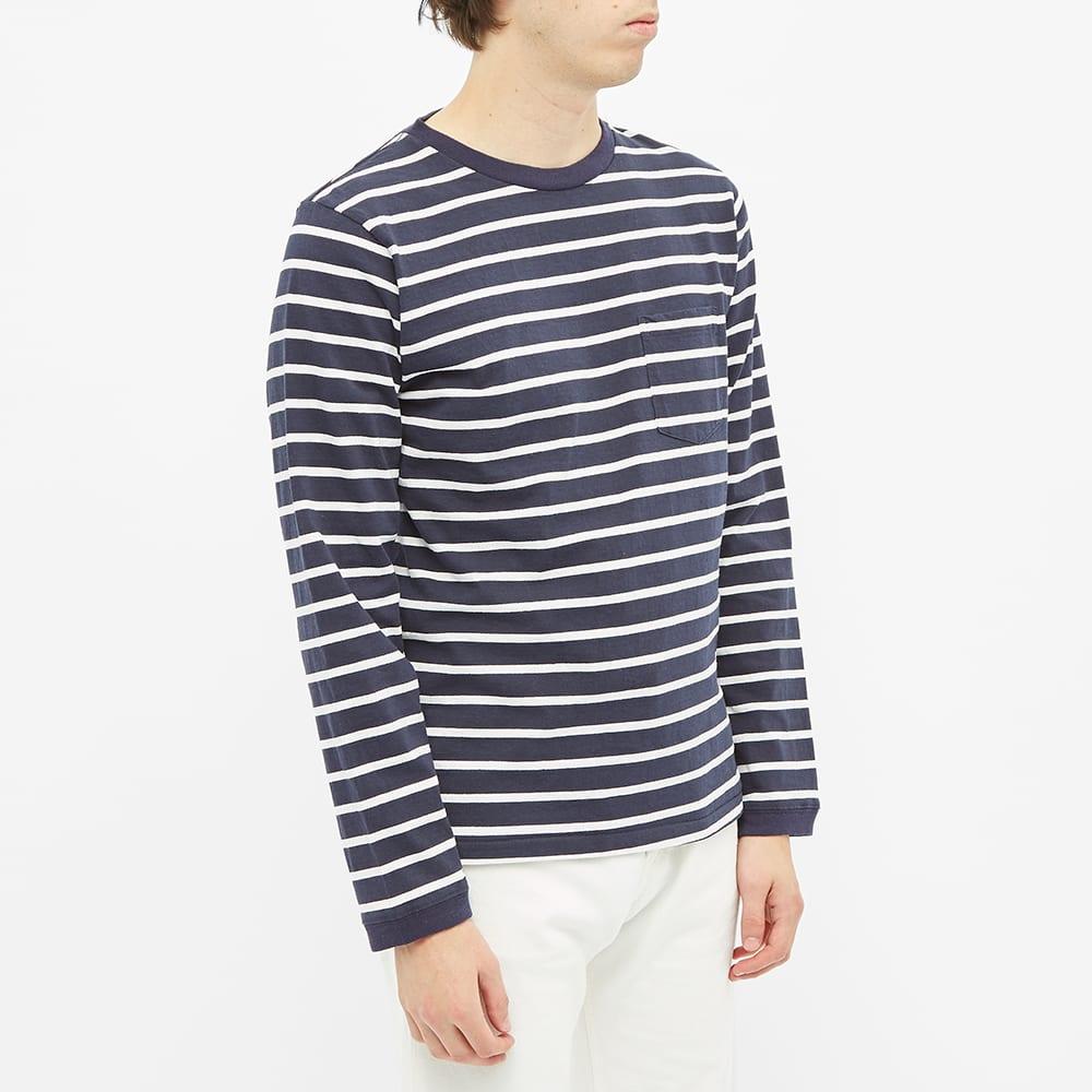 Velva Sheen Long Sleeve Uneven Stripe Tee - Navy & White
