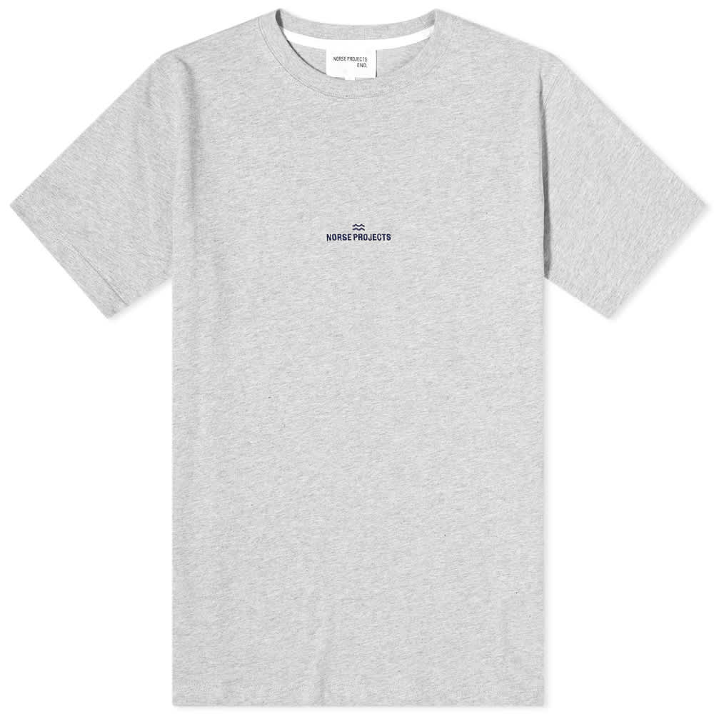 Norse Projects Niels Wave Logo Tee - Grey Melange