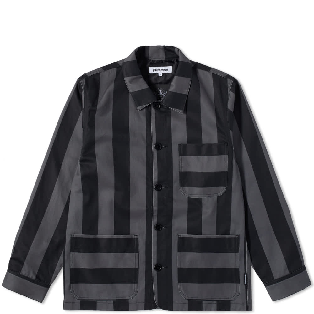 Fucking Awesome Filigree Striped Chore Jacket - Black & Grey