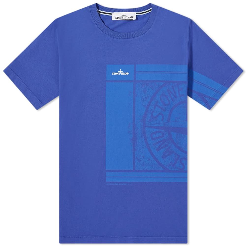 Stone Island Large Side Logo Tee - Bright Blue