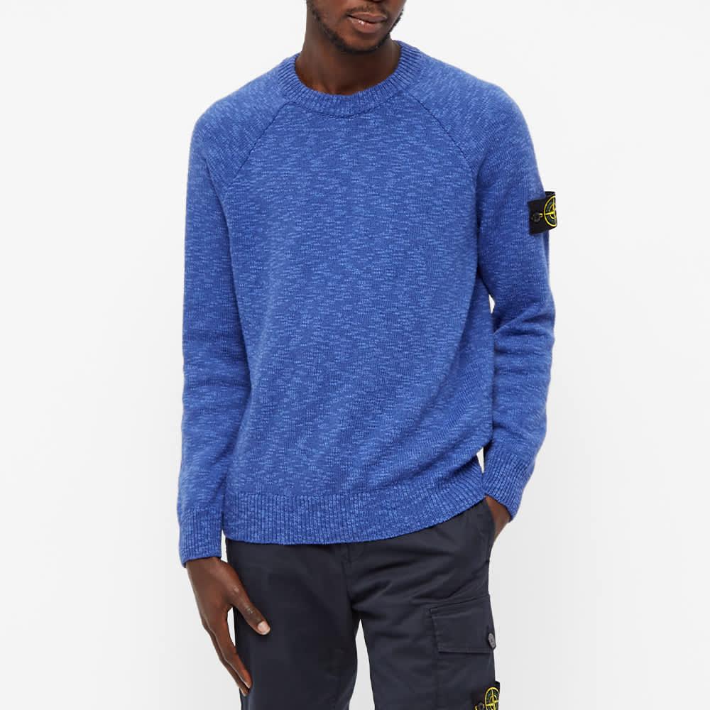 Stone Island Cotton Wool Marl Crew Knit - Bright Blue