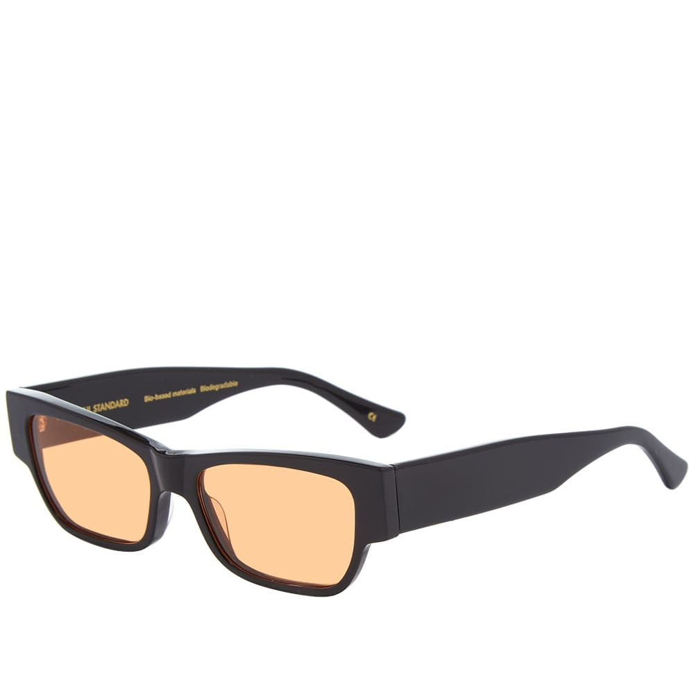 Colorful Standard Sunglass 04 - Deep Black Solid & Orange