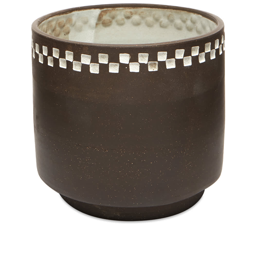 Mellow Ceramics Short Stout Planter & Water Dish - Small - Embossed & Painted Check