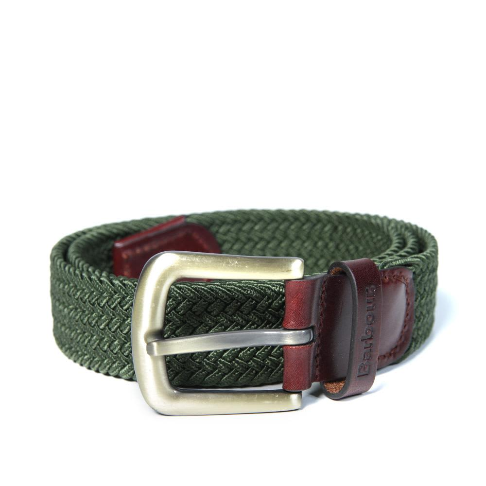 Barbour Stretch Webbing & Leather Belt - Khaki