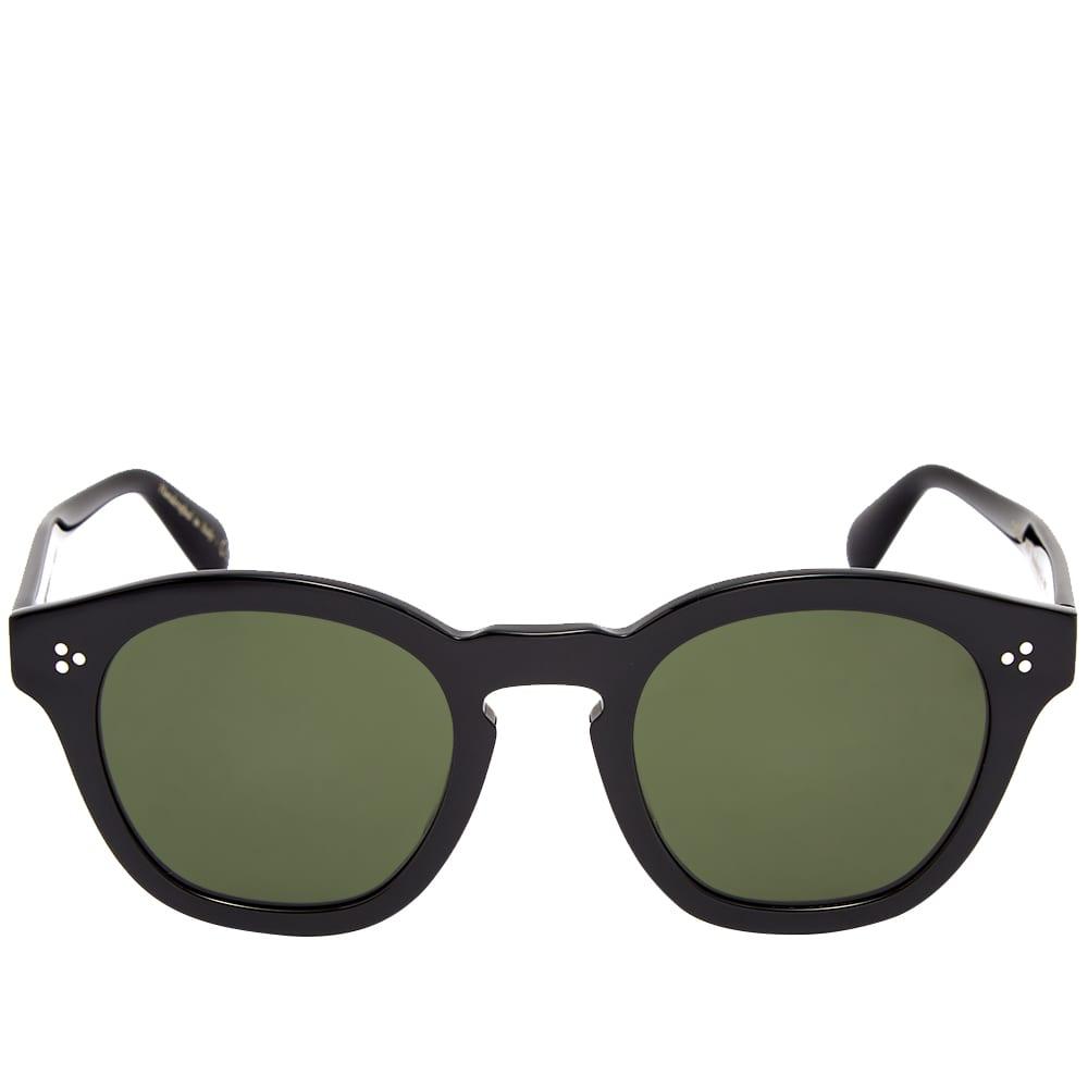 Oliver Peoples Boudreau L.A. Sunglasses - Black & Vibrant Green