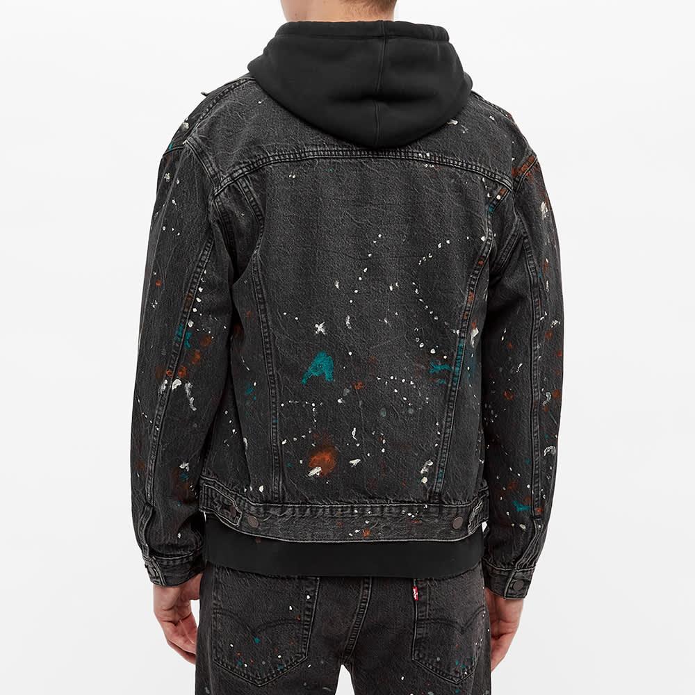 END. x Levi's® 'Painted' Selvedge Trucker Jacket - Black Paint Splatter