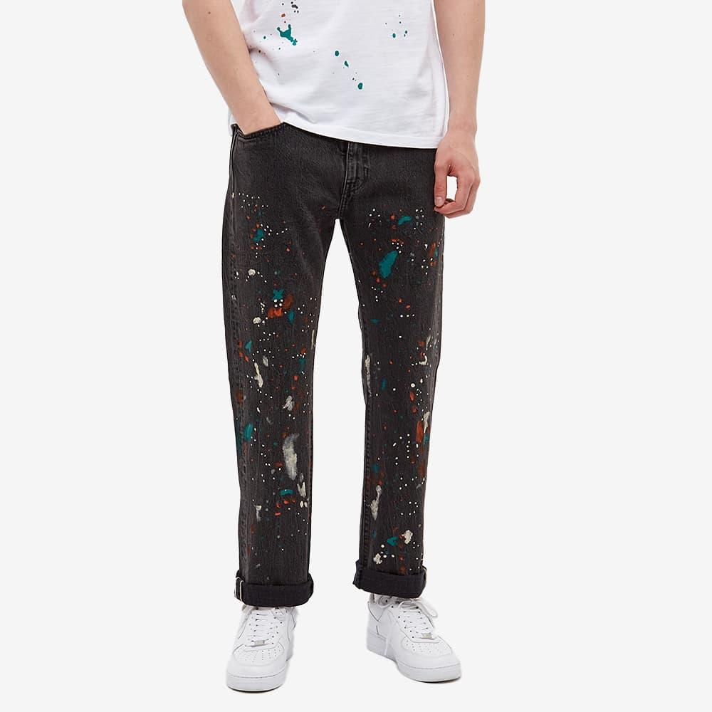 END. x Levi's® 'Painted' 505 Regular Selvedge Jean - Black Paint Splatter