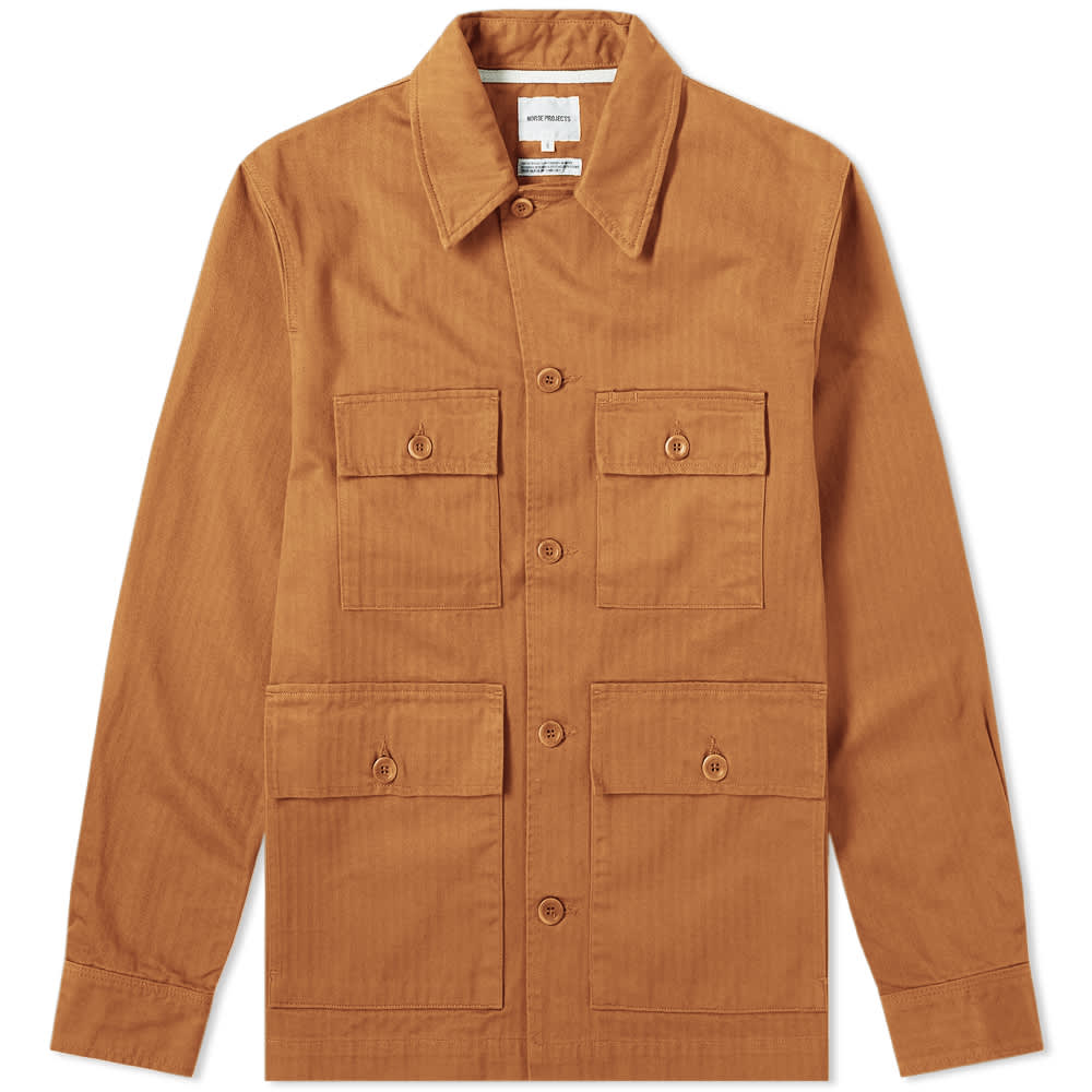 Norse Projects Mads Herringbone Shirt Jacket - Russet
