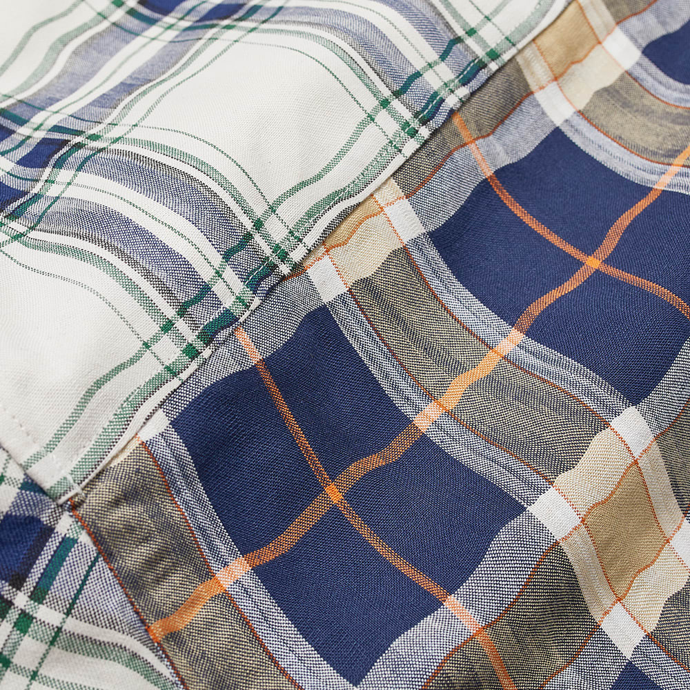Loewe Short Sleeve Patchwork Check Shirt - Navy & White