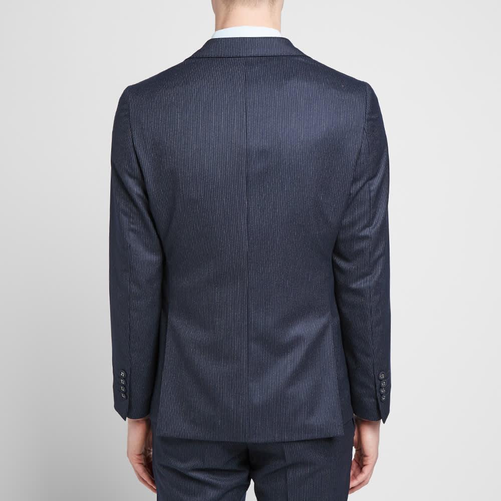 Officine Générale Pinstripe Flannel 375 Flap Pocket Jacket - Navy