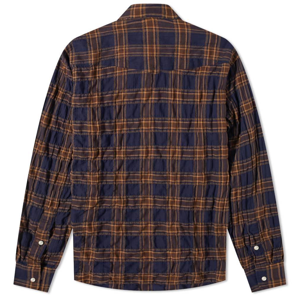 Officine Générale Lipp Japanese Cotton Check Shirt - Brown, Toffee & Navy