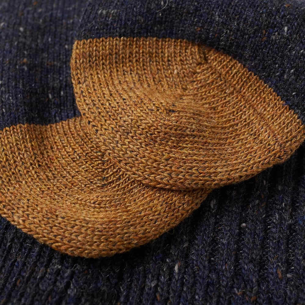 Anonymous Ism Tweed Knitted Yarn Crew Sock - Navy