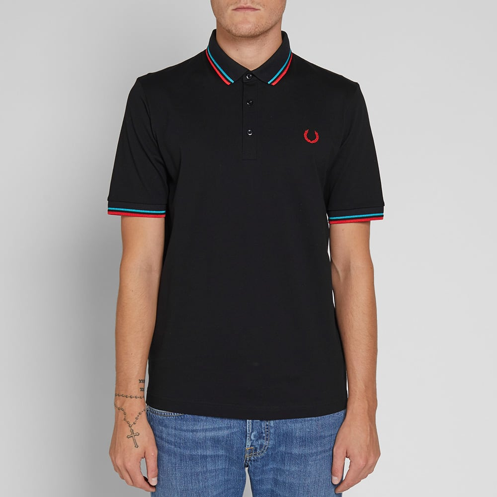 Fred Perry 'Made in Japan' Polo - Black, Neon Red & Neon Aqua