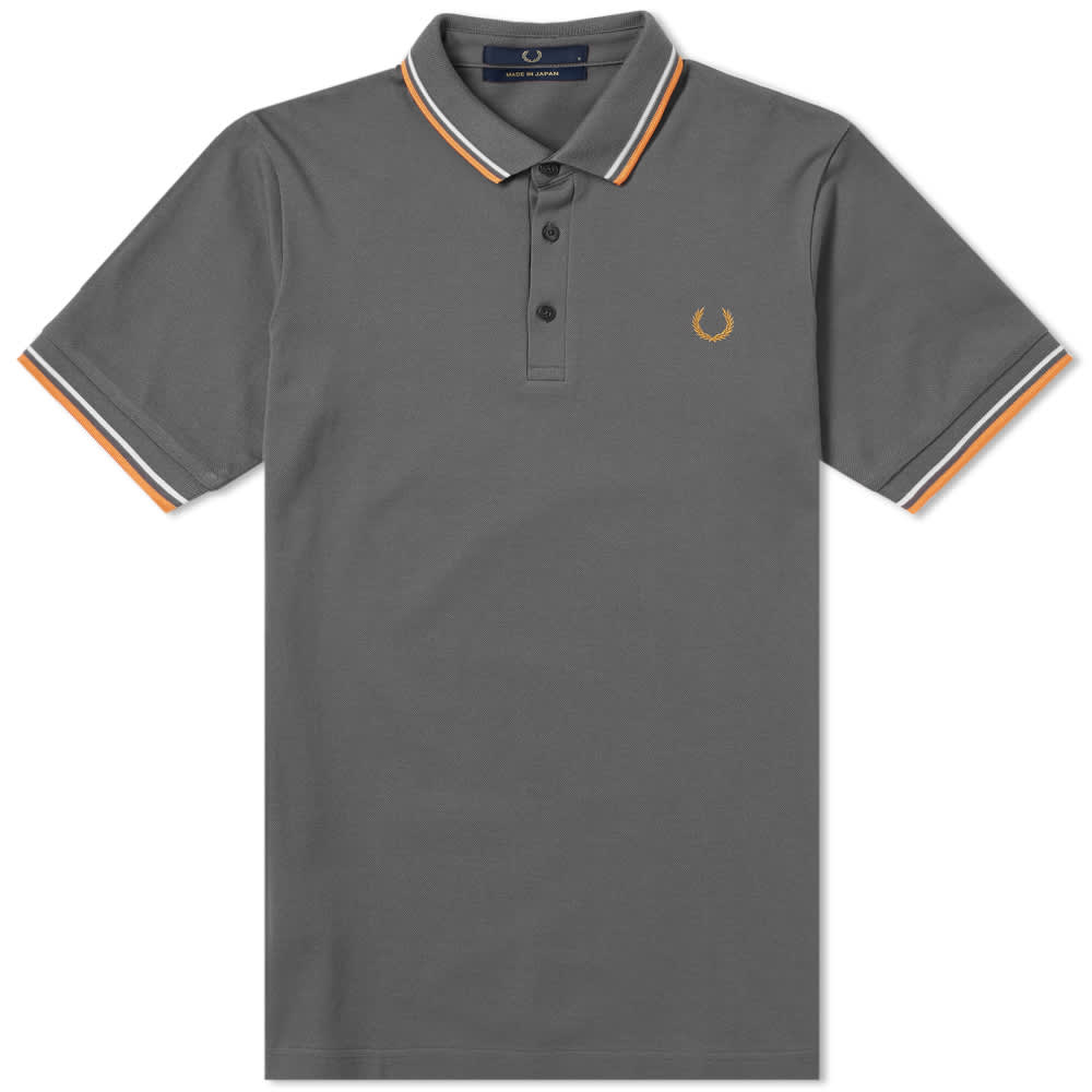 Fred Perry 'Made in Japan' Polo - Steel, Neon Orange & White
