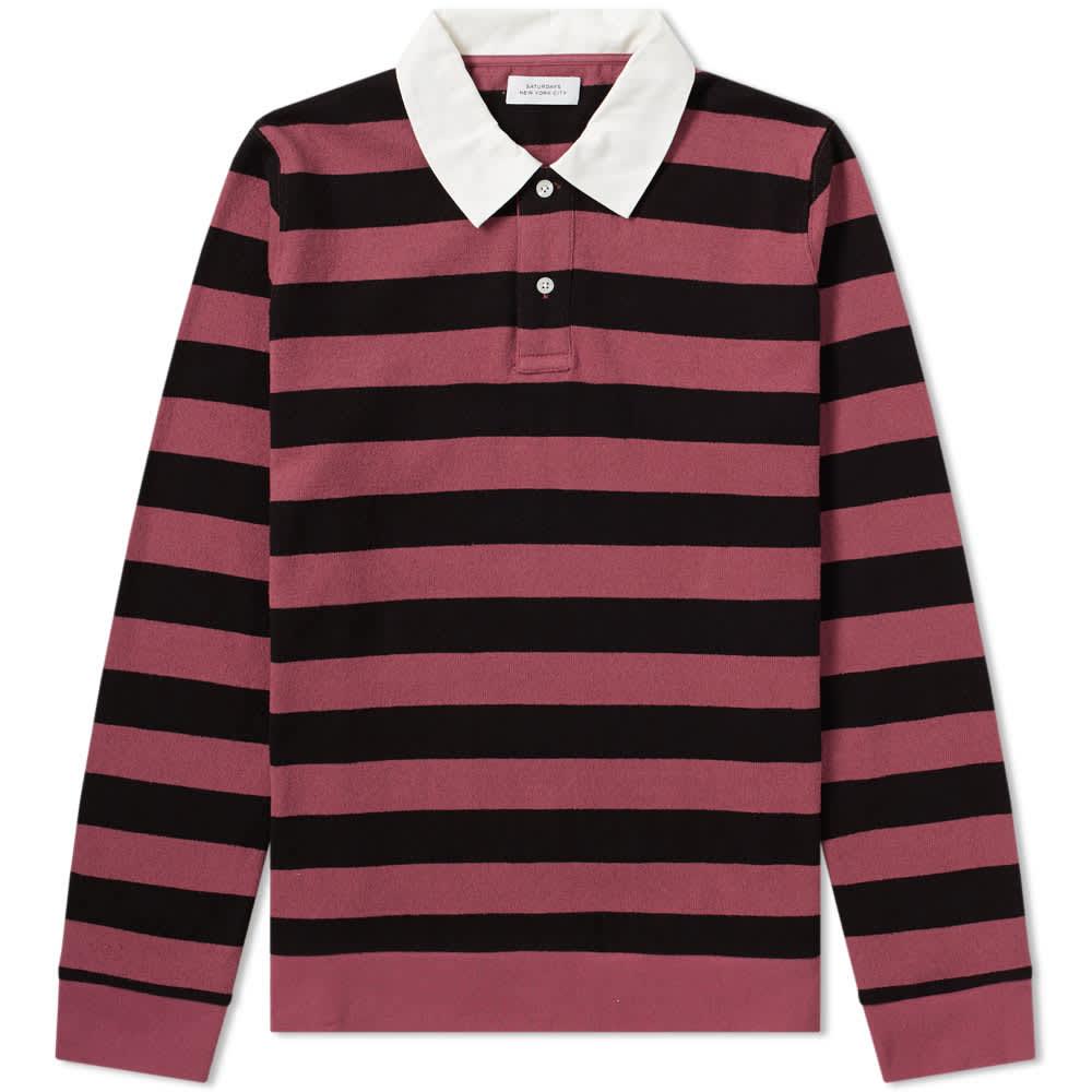 Saturdays NYC Sanders Stripe Rugby Shirt - Light Plum & Navy