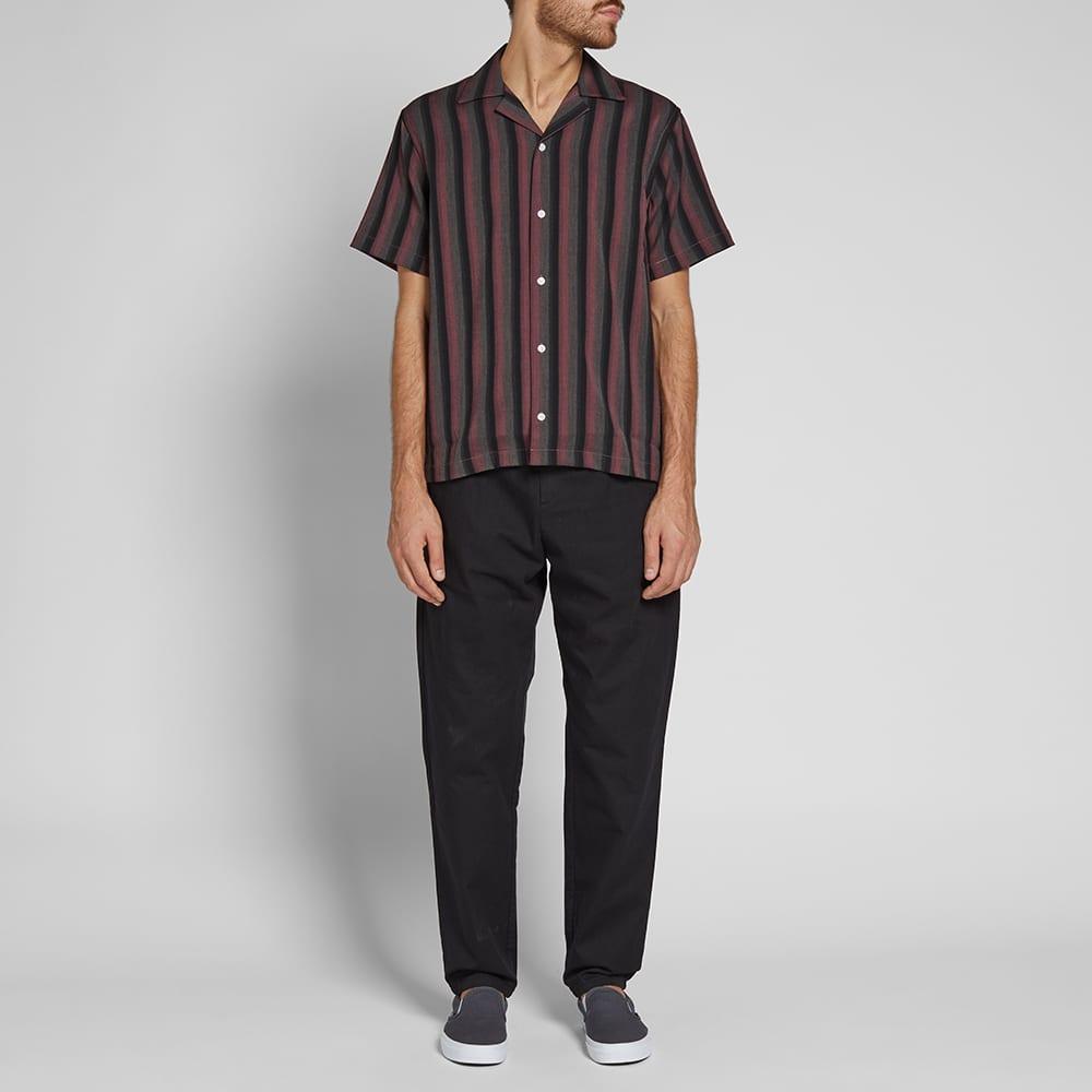 Saturdays NYC Short Sleeve Canty Stripe Vacation Shirt - Light Plum