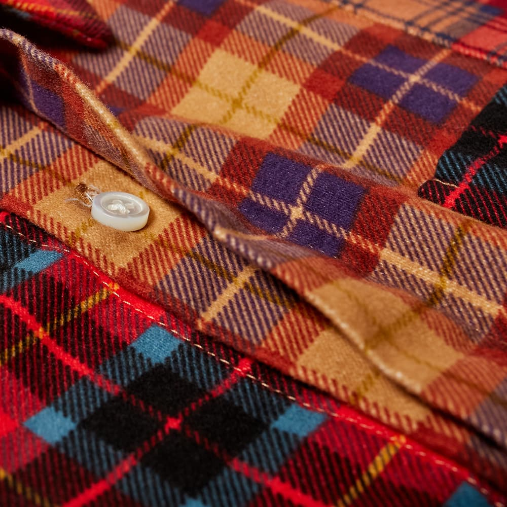 Engineered Garments Plaid Patchwork Shirt - Red & Blue