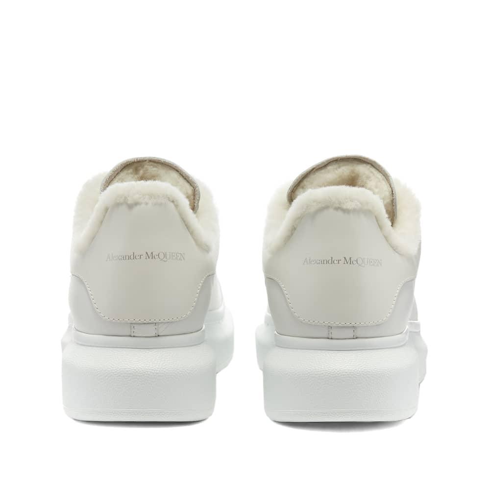 Alexander McQueen Shearling Lined Wedge Sole Sneaker - White