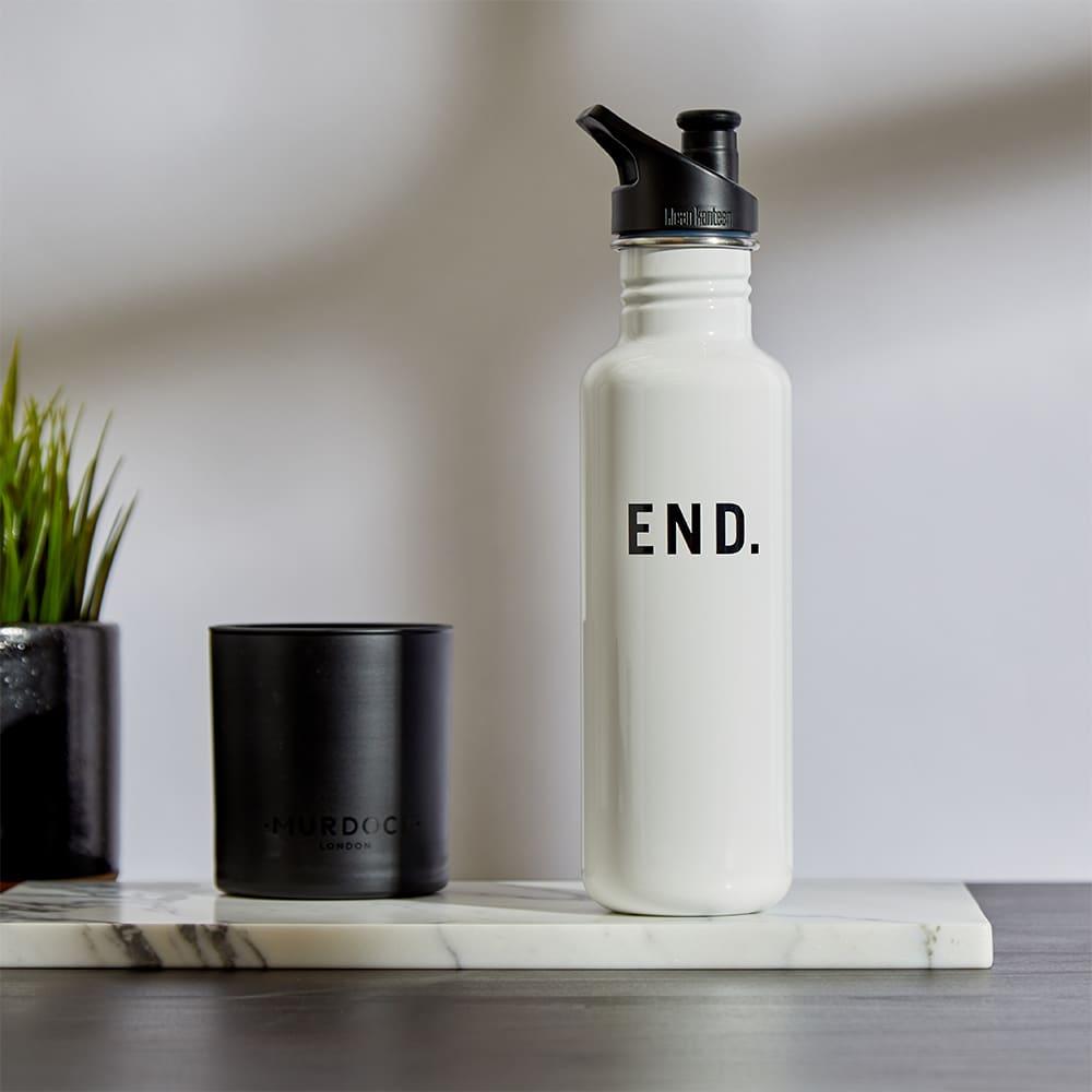 END. x Klean Kanteen Single-Walled Sport 3.0 Bottle - Glossy White 800ml