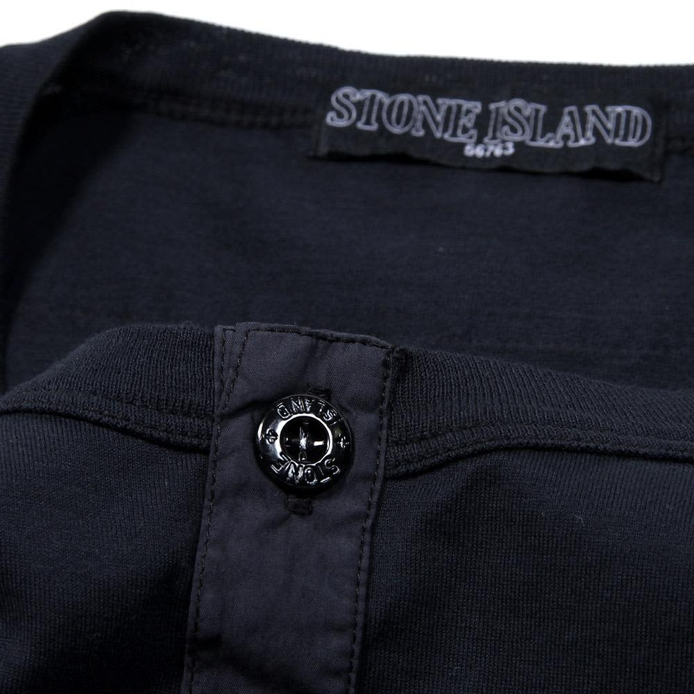 Stone Island Shadow Project Garment Dyed Henley Tee - Navy