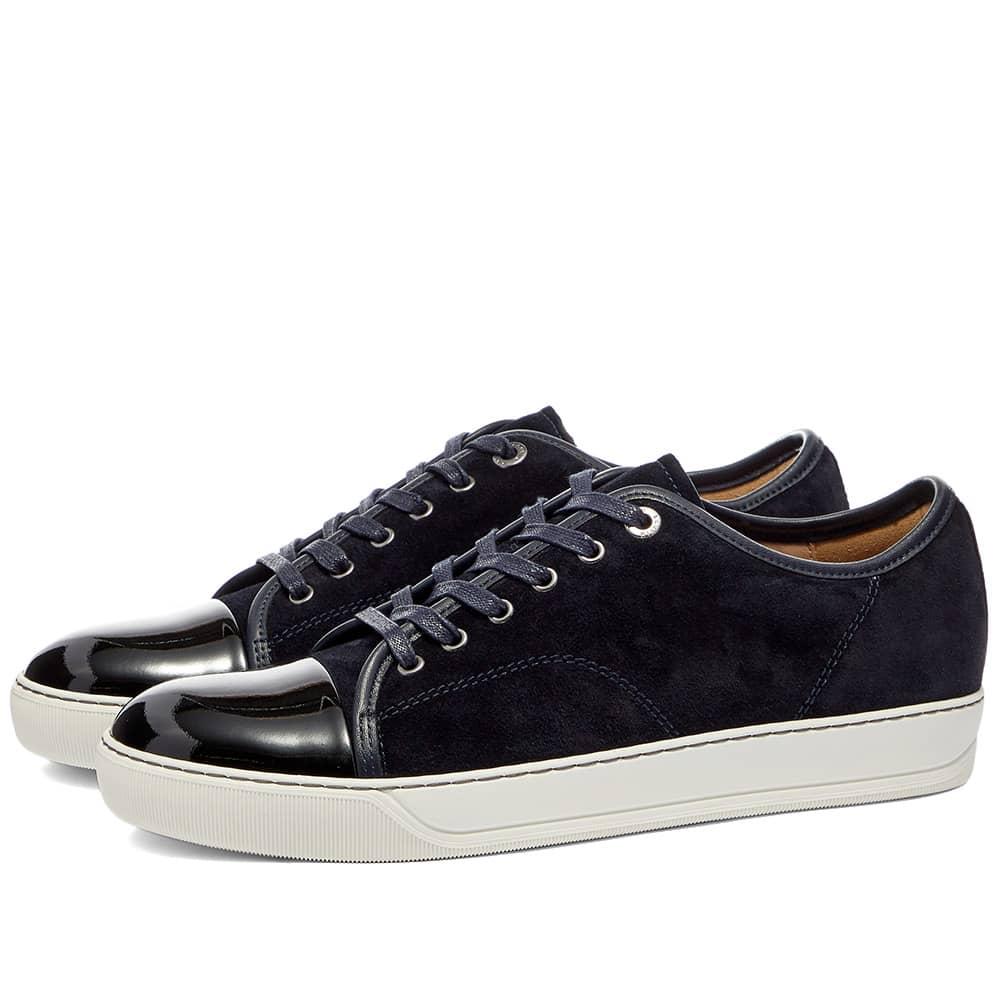 Lanvin Patent Toe Cap Low Sneaker - Navy & White