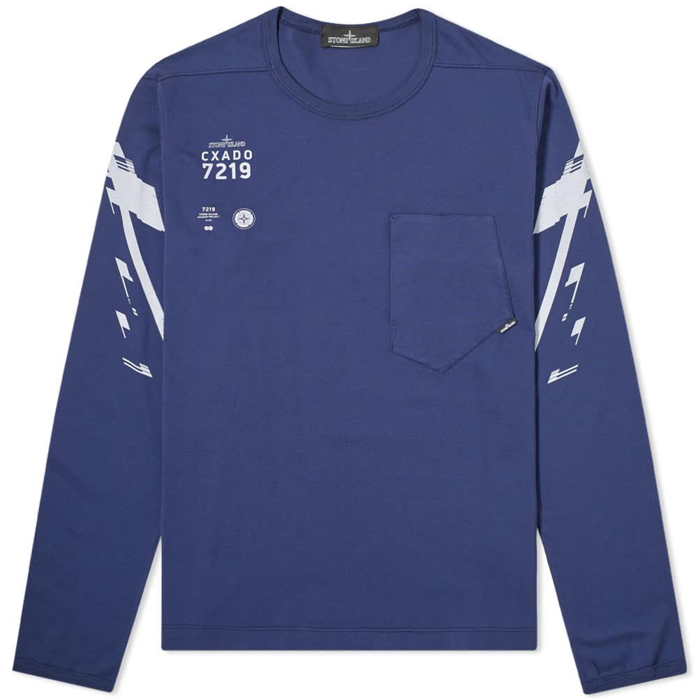 Stone Island Shadow Project Mako Jersey Long Sleeve Logo Tee - Navy Blue
