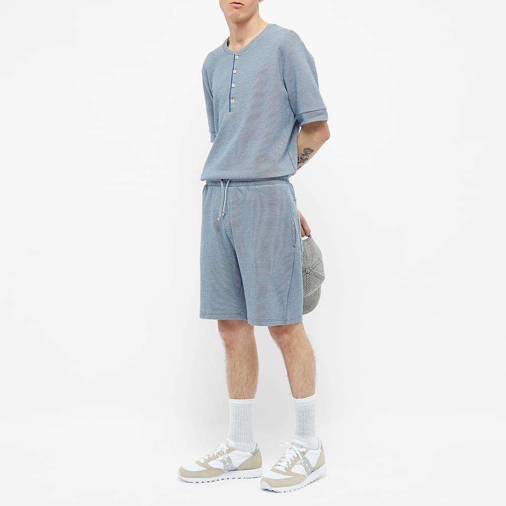 Schiesser Ernst Striped Short Sleeve Henley - Blue