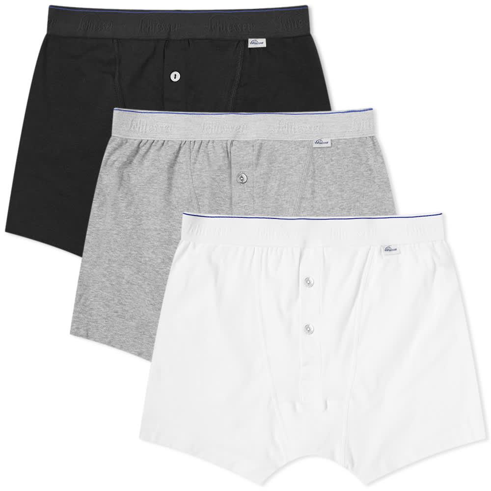 Schiesser Ludwig Boxer Short - 3 Pack - White, Black & Grey