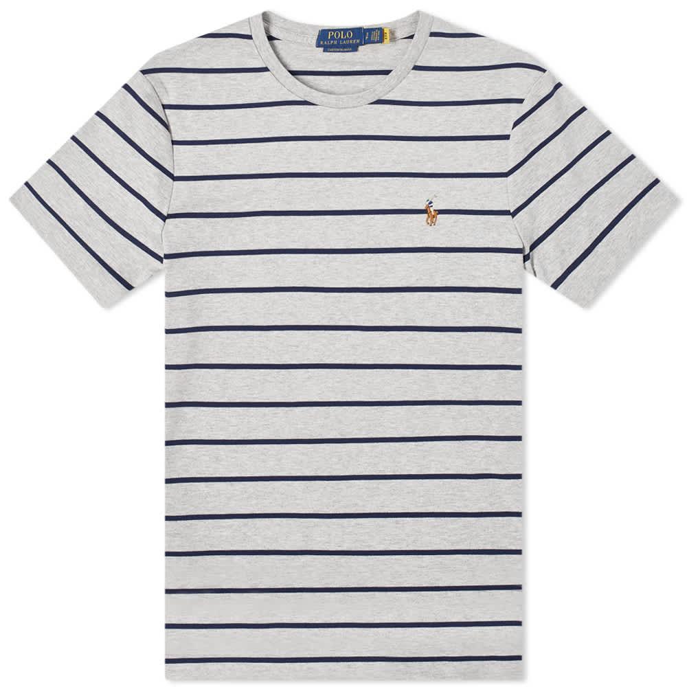 Polo Ralph Lauren Striped Tee - Andover Heather & Navy
