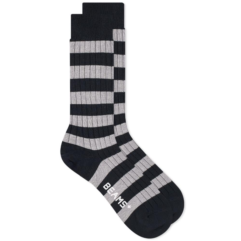 Beams Plus Border Stripe Sock - New Navy